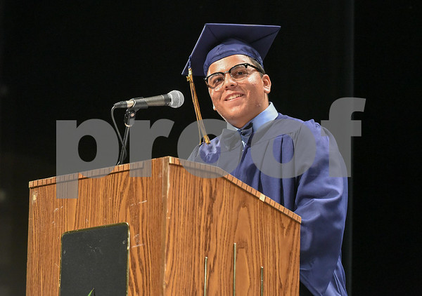 062017 Wesley Bunnell | Staff Newington High School held their 2017 commencement at the Oakdale Theatre on Tuesday evening. Senior Class essayist Eddie Cruz.