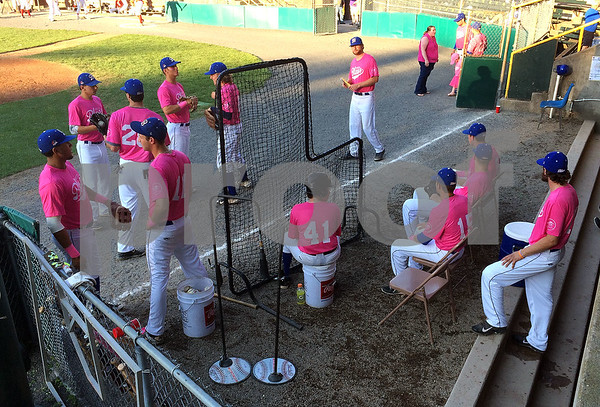 8/4/2015 Mike Orazzi | Staff Members of the Bristol Blues wearing pink during the Bristol Hospital Beekley Cancer Center Pink Night at Muzzy Field on Tuesday evening in a game with the Seacoast Mavericks.