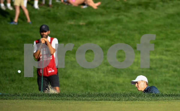 062517 Wesley Bunnell | Staff Action from final day of the Travelers Championship on Sunday. Jordan Spieth would go on to hole out from the bunker on the first playoff hole against Dustin Berger to win the 2017 Travelers Championship. Jordan Spieth with his shot from the sand trap to win the championship.