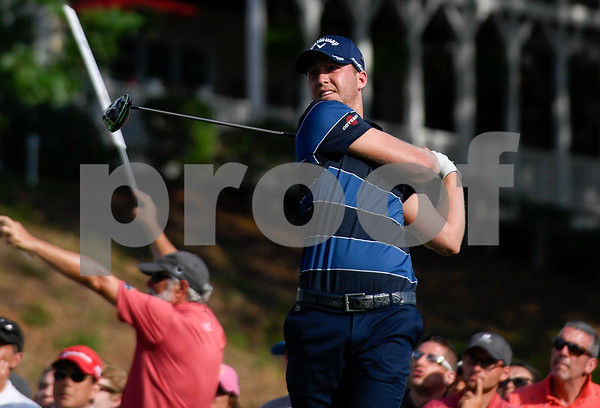 062517 Wesley Bunnell | Staff Action from final day of the Travelers Championship on Sunday. Jordan Spieth would go on to hole out from the bunker on the first playoff hole against Dustin Berger to win the 2017 Travelers Championship. Dustin Berger tees off from the 18th tee.
