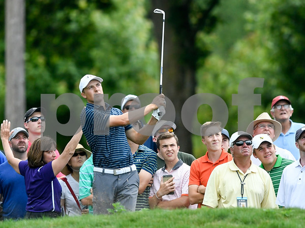 062517 Wesley Bunnell | Staff The final round at the Travelers Championship on Sunday afternoon. Jordan Spieth hits out of the rough on the 8th hole.