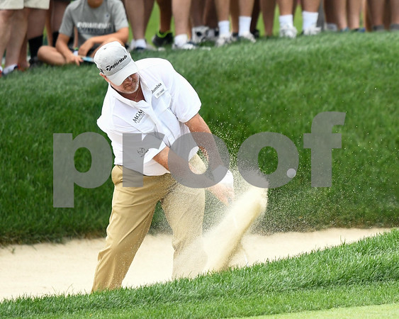 062517 Wesley Bunnell | Staff Action from final day of the Travelers Championship on Sunday. Jordan Spieth would go on to hole out from the bunker on the first playoff hole against Dustin Berger to win the 2017 Travelers Championship. Boo Weekley hitting out of the sand on the front 9.