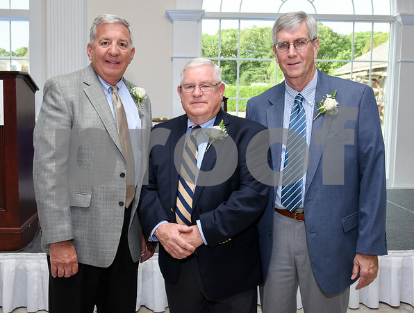 061517 Wesley Bunnell | Staff The 128th Annual Bristol Chamber of Commerce Awards Dinner took place on Thursday evening at the Aqua Turf Club in Plantsville. E. Bartlett Barnes Distinguished Service Award winner John Ludovico, L, Spirit of Bristol Award winner John Smith & Outstanding Community Service Award winner Tom Morrow.