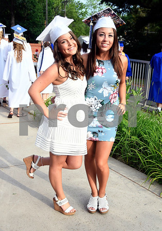 6/15/2017 Mike Orazzi | Staff Plainville High School graduate Isabella Pugliese and Alexis Diorio at the graduation ceremony Thursday evening.