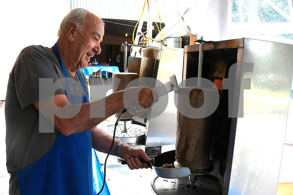 6/16/2017 Mike Orazzi | Staff Iordanis Giordamnis carves Gyro meat during the 34th Annual Greek Festival Zorba 2017 at St. Demetrios Greek Orthodox Church in Bristol Friday.
