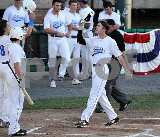 6/20/2017 Mike Orazzi | Staff Bristol Blues' Nick Roy (17) after his home run at Muzzy Field Tuesday night.