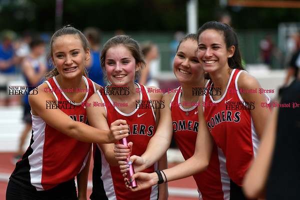 6/1/2017 Mike Orazzi | Staff Members of the Somers relay team during the Class S Outdoor track meet in New Britain Thursday at Willow Brook Park.