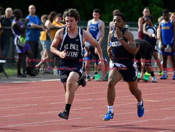 6/1/2017 Mike Orazzi | Staff St. Paul's Jake Sanzon during the Class S Outdoor track meet in New Britain Thursday at Willow Brook Park.