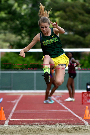 6/1/2017 Mike Orazzi | Staff Coventry's Sarah LePage in the long jump during the Class S Outdoor track meet in New Britain Thursday at Willow Brook Park.