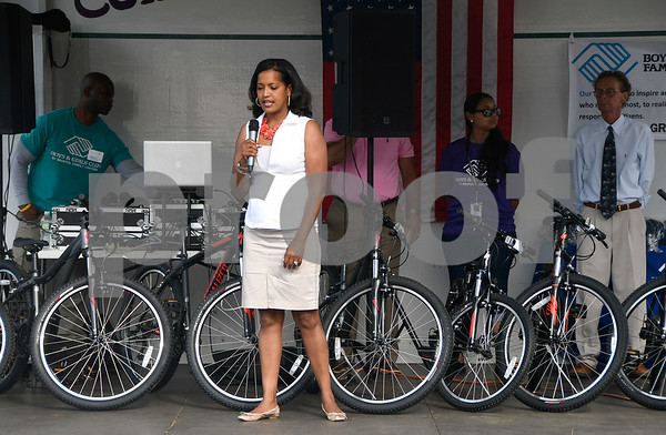 6/22/2017 Mike Orazzi | Staff 2016 National Teacher of the Year Jahana Hayes talks to Cambridge Park students who were honored with free bikes during the Bristol Boys & Girls Club Reach for the Stars event Thursday night.