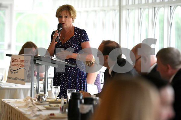 6/29/2017 Mike Orazzi | Staff Cindy Scoville during the Central Connecticut Chambers of Commerce State of the City & Towns Breakfast held at the Chippanee Country Club Thursday morning.