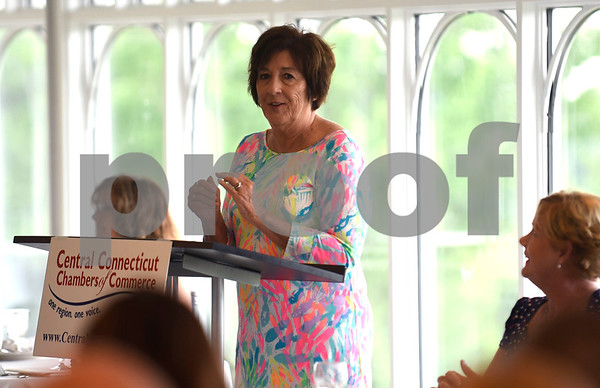 6/29/2017 Mike Orazzi | Staff Plainville Town Council Chairwoman Kathy Pugliese during the Central Connecticut Chambers of Commerce State of the City & Towns Breakfast held at the Chippanee Country Club Thursday morning.