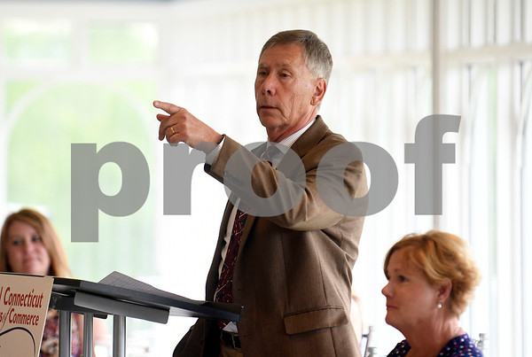 6/29/2017 Mike Orazzi | Staff Plymouth Mayor Dave Merchant during the Central Connecticut Chambers of Commerce State of the City & Towns Breakfast held at the Chippanee Country Club Thursday morning.