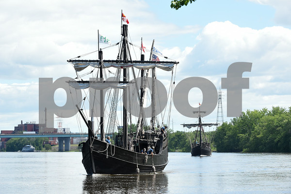 060717 Wesley Bunnell | Staff Replica's of the famous Nina & Pinta ships as used by Christopher Columbus sail up the Connecticut River as they arrive at the riverfront in Hartford on Wednesday afternoon. The Charter Oak Bridge can be seen in the background.