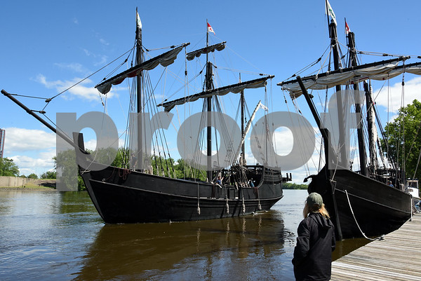 060717 Wesley Bunnell | Staff A replica of the ship used by Christopher Columbus the Pinta passes the Nina as she prepares to dock on the riverfront in Hartford on Wednesday afternoon.