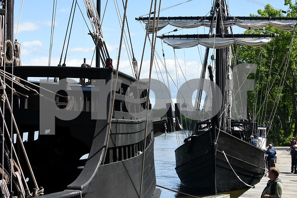 060717 Wesley Bunnell | Staff Colt's Blue Onion Dome can be seen through the rigging of a replica of Christopher Columbus's the Pinta, L, and the Nina as they sit at dock in Hartford on Wednesday afternoon.