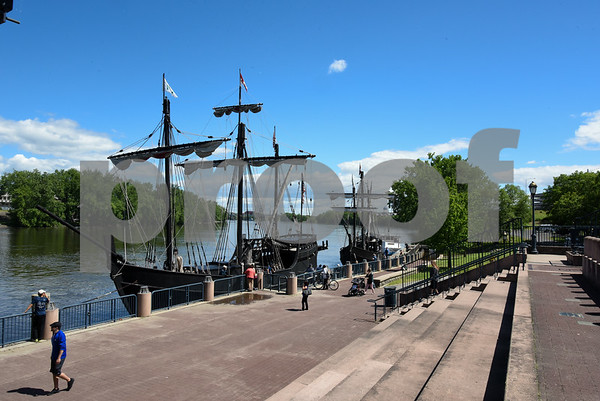 060717 Wesley Bunnell | Staff Replicas of the ships used by Christopher Columbus', the Nina & the Pinta, sit at dock after coming up river in Hartford on Wednesday afternoon.