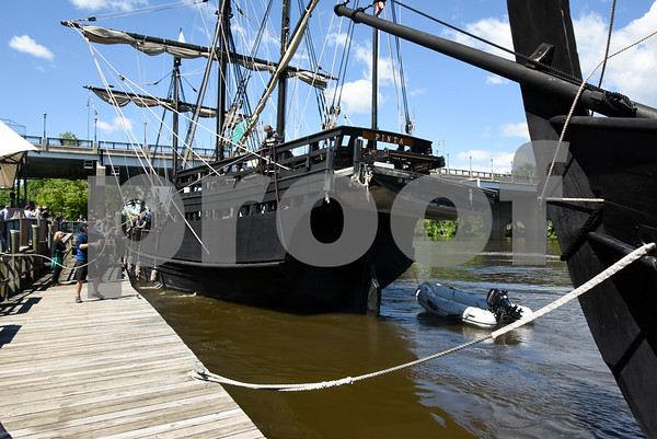 060717 Wesley Bunnell | Staff A replica of the ship used by Christopher Columbus the Pinta prepares to dock just ahead of the Nina on the riverfront in Hartford on Wednesday afternoon.