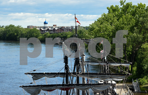 060717 Wesley Bunnell | Staff Colt's Blue Onion Dome can be seen through the rigging of a replica of Christopher Columbus's the Pinta, front, and the Nina as they sit at dock in Hartford on Wednesday afternoon.