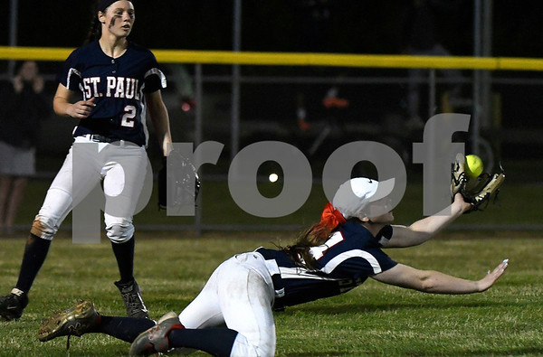6/7/2017 Mike Orazzi | Staff St. Paul's Abby Poirot (44) makes a diving catch for the final out during a win over Coventry in the Class S Semifinal at West Haven High School Wednesday night. ?