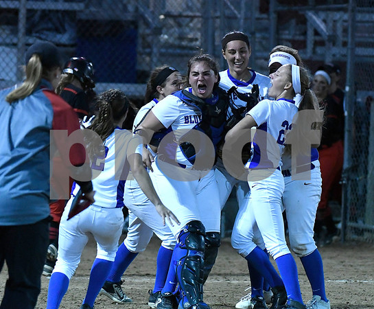 6/8/2017 Mike Orazzi | Staff Southington girls celebrate a win over Cheshire in the Class LL final a Deluca Field in Stratford Thursday night.