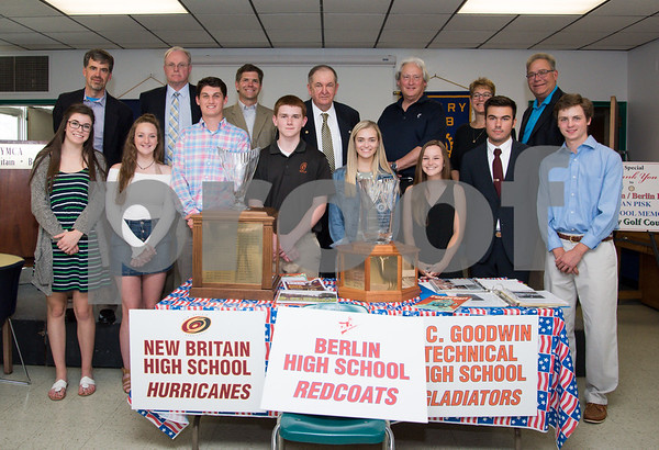 060817 Wesley Bunnell | Staff The New Britain/Berlin Rotary Club held an awards luncheon on Thursday afternoon honoring high school golfers from both boys and girls teams from New Britain, Berlin and the boys team from EC Goodwin. The 54th Annual Stan Pisk Memorial High School Golf Championship was previously held on Tuesday May 30. Coaches and players from New Britain, Berlin and EC Goodwin's boys and girls golf teams pose with the championship trophies along with New Britain Superintendent of Schools Nancy Sarra, back row 2nd from right. Ted Pisk, son of the late Stan Pisk, is shown back row middle.