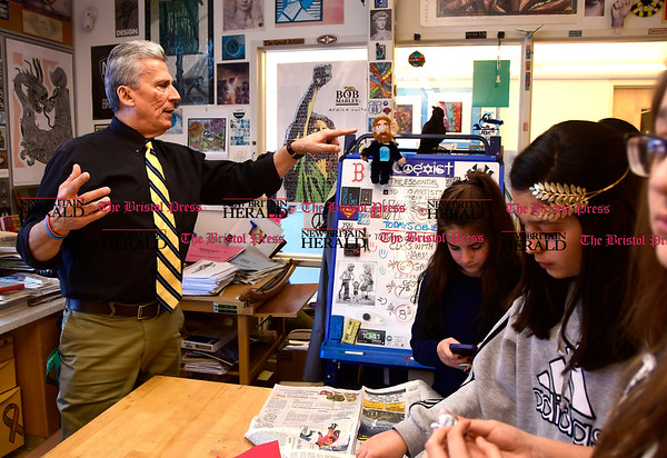 3/16/2017 Mike Orazzi | Staff Greene Hills School Art Teacher Joe Johnson with the art club Thursday afternoon.