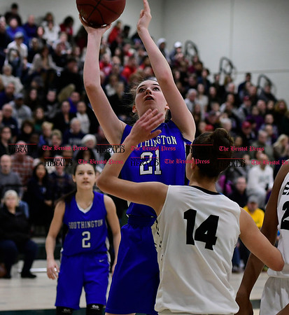 3/9/2017 Mike Orazzi | Staff Southington's Madison Hulten (21) in the Class LL Quarterfinal in Enfield Thursday night.
