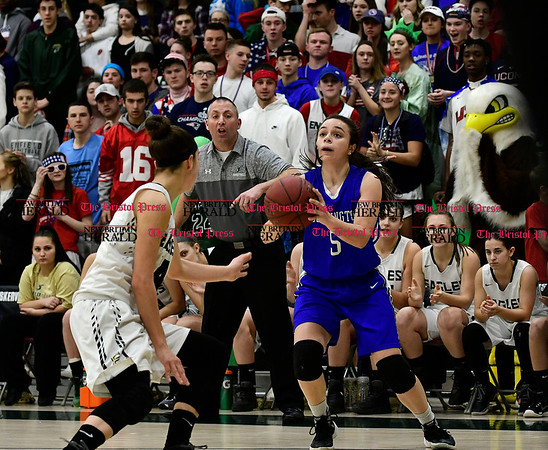 3/9/2017 Mike Orazzi | Staff Southington's Margaret Meehan (5) in the Class LL Quarterfinal in Enfield Thursday night.