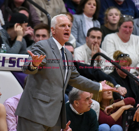 031317 Wesley Bunnell | Staff St. Paul boys basketball was defeated in a Class S CIAC playoff game against Westbrook on Monday March 13. Head Coach Steve Phelps voices his displeasure at the officials late in the game.