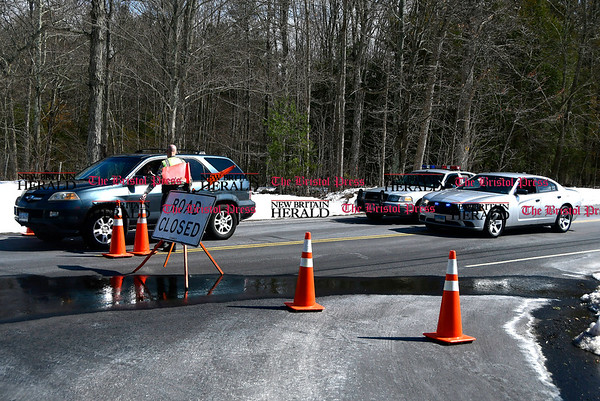 3/21/2017 Mike Orazzi   Staff A closed Route 72 at the intersection of Locust Road in Harwinton after the body of an infant was discovered in Bristol's Reservoir Number 4 Tuesday.