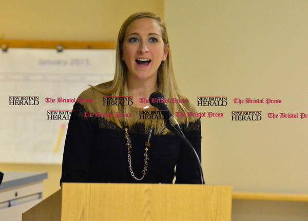 1/7/2015 Mike Orazzi | Staff South Side School's Julia Darcy during the Bristol Board of Educations' Mini Grant program on Wednesday evening.