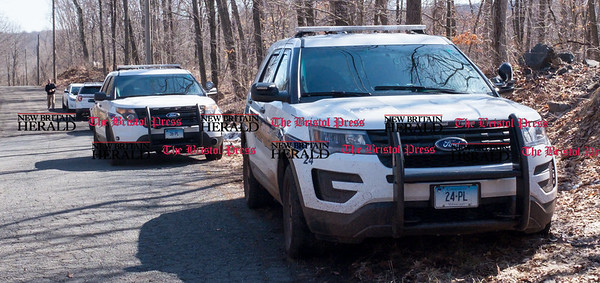 033017 Wesley Bunnell | Staff Plainville detectives arrive to aid in the search for missing hiker Arthur Williams in the woods off of Loon Lake Road. Williams was last seen on Saturday.