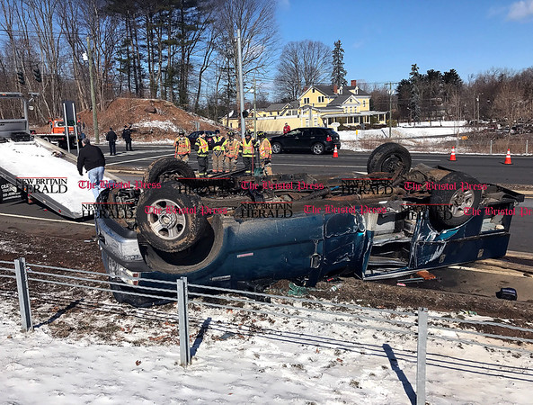 3/11/2017 Mike Orazzi | StaffThe scene of a two crash at the intersection of Route 72 and Lincoln Avenue in the Forestville section of Bristol Saturday morning.