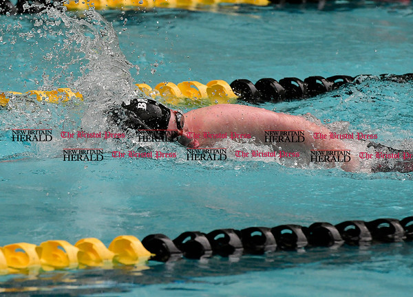3/11/2017 Mike Orazzi | Staff Bristol Co-Op Swim team member Jordan Northup during the CIAC Boys Class LL Championship meet held at East Hartford High School Saturday.