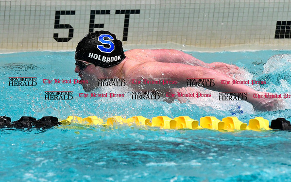 3/11/2017 Mike Orazzi | Staff Southington High School's Jacob Holbrook during the CIAC Boys Class LL Championship meet held at East Hartford High School Saturday.