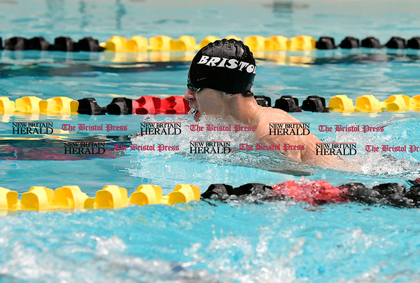 3/11/2017 Mike Orazzi | Staff Bristol Co-Op Swim team member Ben Stafford during the CIAC Boys Class LL Championship meet held at East Hartford High School Saturday.