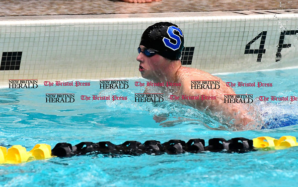 3/11/2017 Mike Orazzi | Staff Southington High School's Joe Savarese during the CIAC Boys Class LL Championship meet held at East Hartford High School Saturday.
