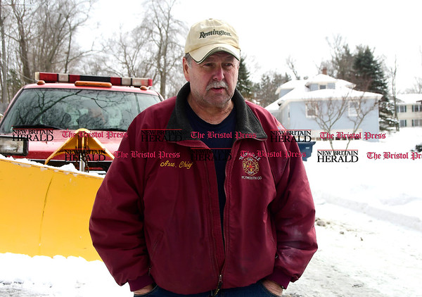 3/15/2017 Mike Orazzi | Staff Town of Plymouth Fire Marshall Raymond Kovaleski talks about a garage fire that burned a man on Crescent Street in Terryville.