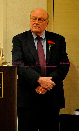 Rob Heyl Berlin Hall of Fame inductee Robert McCann. Master of Ceremonys George Synnott is behind him. 03.20.11 for 03.21.11