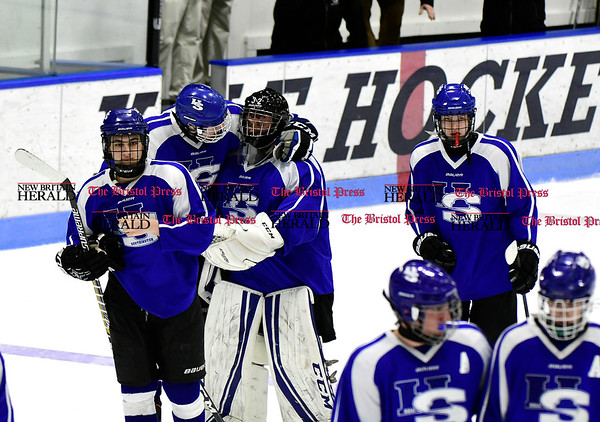 3/18/2017 Mike Orazzi | Staff Hall-Southington aftera loss to Woodstock Academy during the CIAC 2017 State Boys Ice Hockey Tournament Division III Finals at Ingalls Rink in New Haven Saturday.
