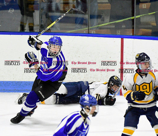 3/18/2017 Mike Orazzi | Staff Hall-Southington's Richard Mitchell IV (15) during the CIAC 2017 State Boys Ice Hockey Tournament Division III Finals at Ingalls Rink in New Haven Saturday.