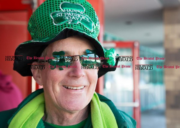 Terence Crean, of Farmington, was showing his St. Patrick's Day spirit at the Shamrock Run in Bristol, Mar. 18, 2017. Crean was attending the race to cheer on his granddaughter in the kids fun run. (Photo by Christopher Zajac)