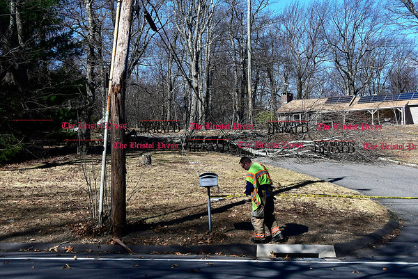 3/2/2017 Mike Orazzi | Staff Bristol firefighters on scene after a fallen tree took down power wires in the area of 750 Willis Street in Bristol on Windy Thursday.
