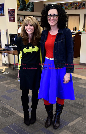 3/2/2017 Mike Orazzi | Staff West Bristol School's Judy Michaud and Tina Monteleone as Batgirl and Wonder Woman during &quote;Read Across America Day&quote; in Bristol Thursday.