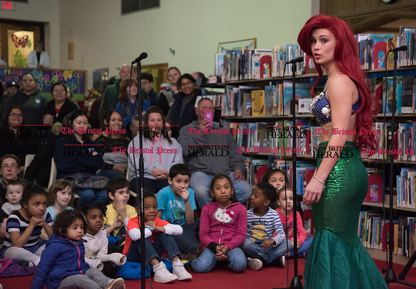 030217 Wesley Bunnell | Staff New Britain High School held a rehearsal for their upcoming performances of The Little Mermaid at the New Britain Public Library on Thursday March 2. Jasmine Colapietro is shown as Ariel.
