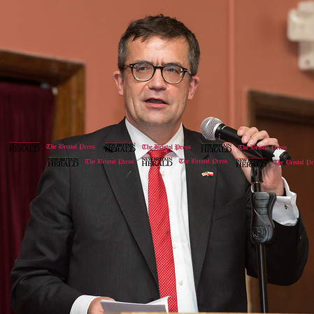 033117 Wesley Bunnell | Staff Polish Ambassador Piotr Wilczek visited New Britain's Little Poland section on Friday March 31, 2017 to celebrate the opening of an honorary Polish Consul in the city. Ambassador Piotr Wilczek speaking.