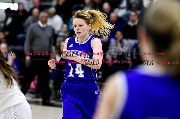 3/3/2017 Mike Orazzi   Staff Bristol Eastern's Diana Wnuk(14) during the Class LL Second Round Girls Basketball game with Enfield.