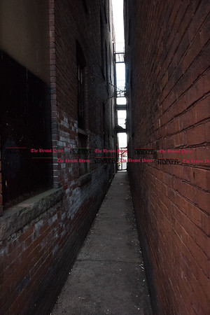 030317 Wesley Bunnell   Staff The alley to the side of the Angry Bull Saloon in Hartford where CCSU student Taylor Lavoie's body was discovered. Lavoie is believed to have fallen from the 4th story rooftop of the saloon early in the morning on March 3.