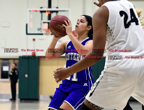 3/3/2017 Mike Orazzi   Staff Bristol Eastern's Miya Laprise (21) during the Class LL Second Round Girls Basketball game with Enfield.